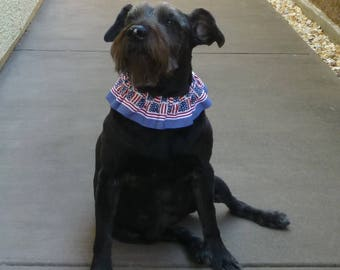 """Patriotic Dog Ruffle Collar -  Flag Squares Dog Scrunchie Collar with striped trim - Size L: 16"""" to 18"""" neck"""