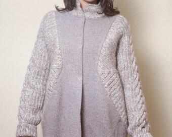 Women Coat, Wool Jacket, Beige Coat, Elegant Coat, Winter Jacket, Knitted Coat, Warm Jacket, Fashion Coat, Boho Maxi Jacket, Loose Coat