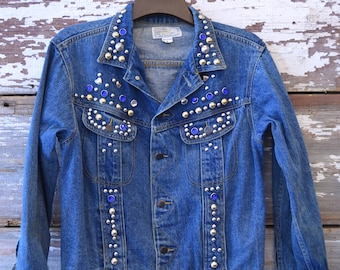 Studded Denim Jean Jacket 1980s