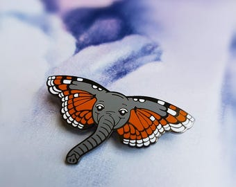 Butterphant Pin - Hard Enamel Pin - Orange