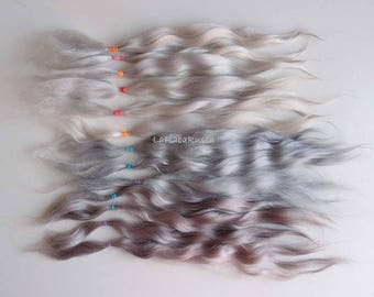 Mix of gray Doll Hair Combed Mohair 11 in adult mohair angora goat/ reroot/ momoco/ doll wig/ blythe wig/ pullip/ make weft for waldorf doll