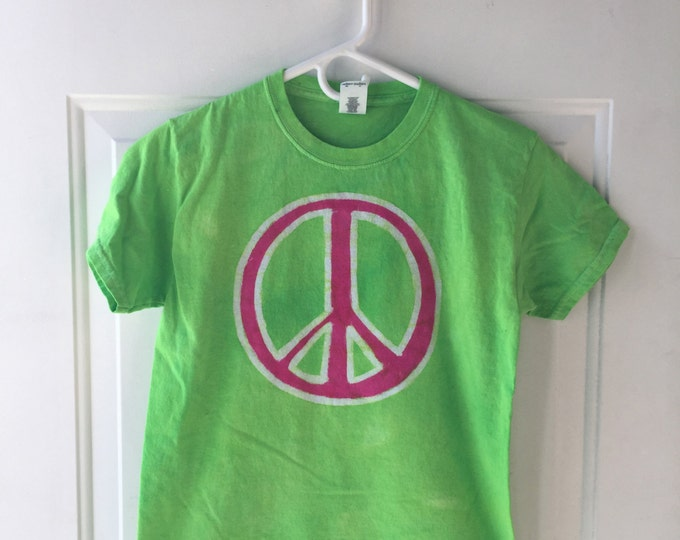 Featured listing image: Peace Sign Shirt, Kids Peace Sign Shirt, Girls Peace Sign Shirt, Hot Pink Peace Sign, Lime Green Peace Shirt, Kids Peace Shirt (Youth M)