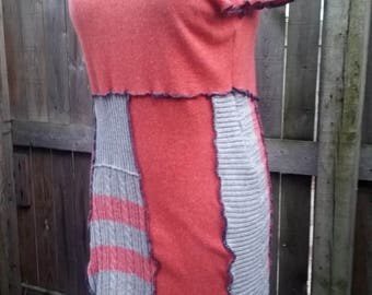 XL Upcycled Cashmere Sweater Dress pink gray panels OOAK Recycled...reuse, eco-friendly, boho, hippie, patchwork, wearable art