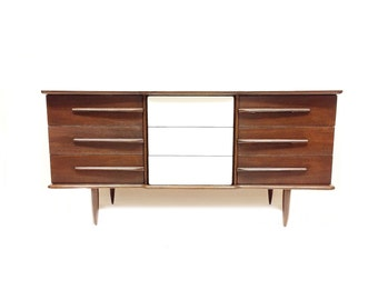 Vintage MCM Dresser In Wood and White