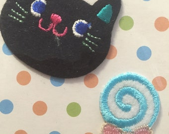 Black Cat & Lollipop Candy Sweets, Embroidered Iron On Patch, Japanese Iron on Applique, Cute Animal Motif, Embroidery Applique, W500