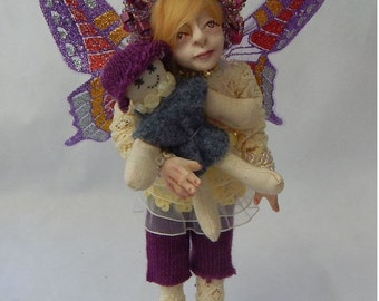 Molly & Dolly OOAK Fairy with her Rag Doll Fairies Sculpture Art Doll Posable NEW Polymer Clay Mixed Media