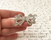 Rhinestone Bow Brooch, Bow Jewelry, Rhinestone Brooch Pin, Diamond and Silver, Vintage Brooch Rhinestone Jewelry, Silver Bow Vintage Jewelry