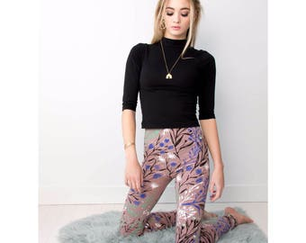 Floral Leggings - Hand Printed - Organic Cotton - High Waisted Leggings -Slow Fashion - Dusty Rose Wandering Floral - Thief and Bandit®