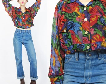 80s 90s Beaded Cropped Blouse Abstract Floral Print Midriff Half Top Floral Crop Top Vintage Long Sleeve Sheer Blouse Fly Girl Hip Hop  E203