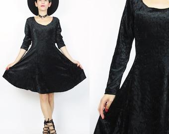 90s Witch Crushed Velvet Dress Black Velvet Dress Long Sleeve Black Velvet Mini Dress Grunge Goth Lace Up Flared Skater Skirt Dress (M) E297