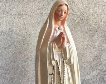 1950s chalkware statue of Our Lady of Fatima white robe, vintage Virgin Mary figurine, religious decor, Fatima statue Catholic gift Madonna