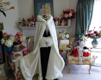 Classic Bridal cape 52-inch Ivory / Ivory Satin Full- Length wedding cloak with fur trim Handmade in USA