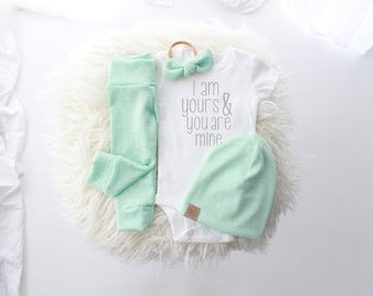 "Spearmint gender neutral 3 piece new baby outfit | ""I am yours you are mine"" grey lettering 