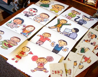 Inception Slack Chibis - 8 Handmade Cards with 8 Handmade Bookmarks - Arthur Eames Dreamhusbands