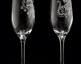 Dragon Design Personalized Wedding Toasting Glass Set
