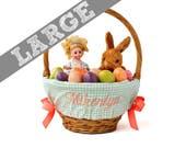 Large Personalized Easter Basket Liner for oversized baskets - Sage Houndstooth - Basket not included - Jumbo - Ships in time for Easter