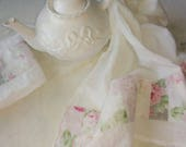Patchwork Pink and Gray Shabby Cabbage Rose Fabric Trimmed Flour Sack Towel Kitchen Towel Tea Towel All Cotton