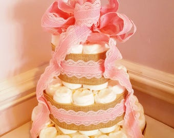 Customized Diaper Cake - Baby Shower Centerpiece