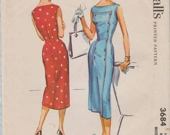 McCalls 3684 / Vintage 50s Sewing Pattern / Sleeveless Dress / Size 12 Bust 30