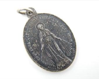 Antique immaculate Conception Catholic Medal - Religious Charm - Scapular Medallion - Catholic Jewelry Y26