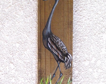 Sand Hill Crane Heron Hand Painted on Reclaimed Fence Board  Wood Plaque