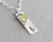 Mini Birthstone Necklace, Mother's Day Birthstone Necklace, Personalized Vertical Initial Tag Necklace, Sterling Silver