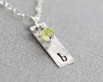 Mini Birthstone Necklace, Mothers Birthstone Necklace, Personalized Vertical Initial Tag Necklace, Sterling Silver