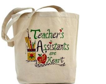 Teacher Assistant Tote Bag - Cotton Canvas Tote Bag - Teacher Appreciation - Gift Bag