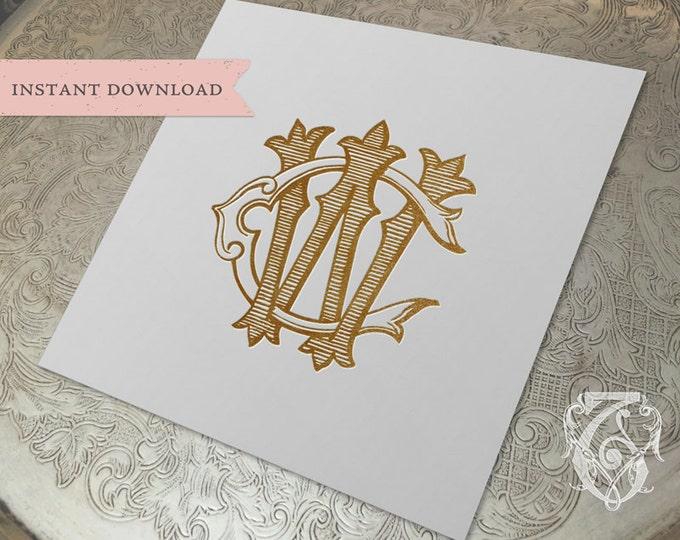 Vintage Wedding Monogram WC CW Digital Download W C