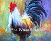 Rooster Original Oil Painting 14X18 rooster paintings, rooster art, rooster images, kitchen wall art, colorful rooster, Vickie Wade Art