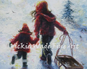 Two Sisters Sledding Art Print, two girls sledding, burgundy red, girls in snow, snow sisters, winter paintings,  christmas, Vickie Wade art