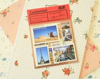 Set 3 Travellers Notebook vintage style post stamp Stickers 18pc
