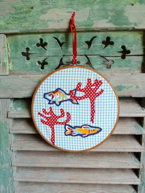 Two Fishes in a Gold Fish Bowl with Red Seaweed, Gingham Applique Wall Decor, Original Concept & Design © leslieworks Hoop Art