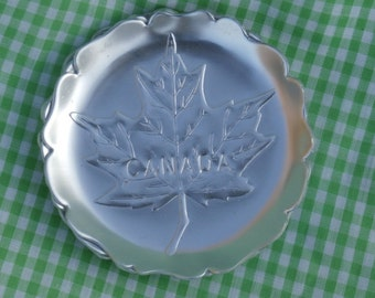 4 Vintage Canada Aluminum Coasters with Maple Leaf Design, Canadian Made