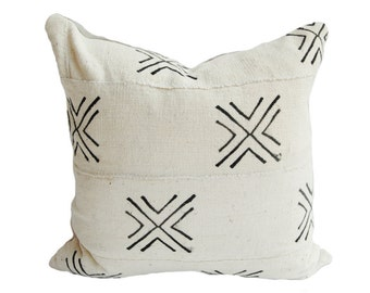 White/Natural & Black Vintage African Mud Cloth Pillow