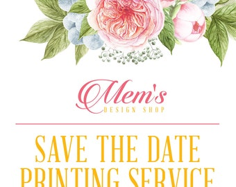 Mem's Design Shop Save the Date CARDS, POSTCARDS, and MAGNETS printing service