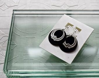 Lotus Flower Earrings Silver Black Arte Metal Discs Buddhist Vipassana Zen Yoga Mindful Jewelry Asian Inspired  Minimalist nature Jewelry