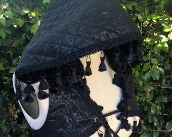 "NEW: The Hooded Tassel Vest in Black ""Diamonds"" by Opal Moon Designs (Size S)"
