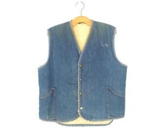 70s Shearling Vest * Vintage 1970s Fleece Waistcoat * Denim Vest * Medium