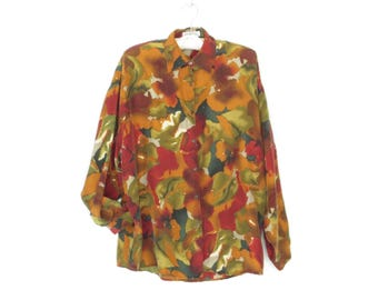 Vintage Silk Blouse * 80s Silk Shirt * 1980s Button-up Blouse * Medium / Large