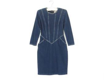 80s Denim Dress * Vintage Jean Dress * 1980s Dress * Sheath Dress * Medium