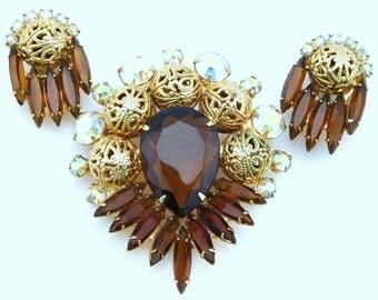 Vintage Juliana Brooch and Earrings Set Topaz and Gold Tone Filigree D&E Demi Parure