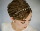 Simple headband, delicate headband, crystal headband, pearl headband, wedding headband, browband, silver, gold or rose gold hair vine - Amy