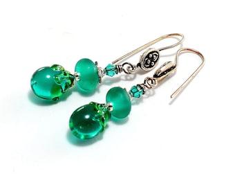 Emerald Green Lampwork Bead Earrings. Small Dangle Earrings. Colorful Earrings. St. Patrick's Day Earrings. Boho Chic. Glass Bead Jewelry.
