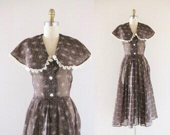 S A L E 1950s sheer floral dress