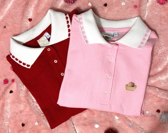 Kawaii Decorative Heart or Cherry Collar Patch Polo - Pink and Red Custom Made