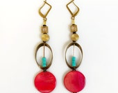 Big Bold Statement Earrings, Geometric Boho Earrings Cherry on Top, Mother of Pearl Dangles