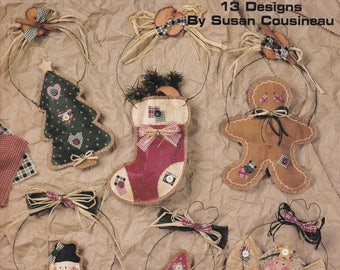 1996 Leisure Arts Leaflet 1656 Paper Bag Christmas 13 Design Ornaments by Susan Cousineau Stocking Tree Santa Snowman Angel Penguin Cardinal
