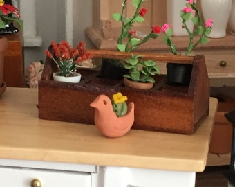 Miniature Bird Planter With Cactus, Succulent Plant, Dollhouse Miniature, 1:12 Scale, Dollhouse Accessory, Mini Decor, Plant