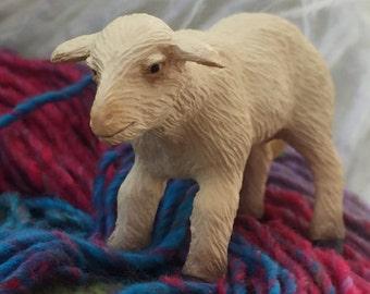 Miniature Male Sheep Figurine, Dollhouse Miniature, 1:12 Scale, Miniature Animal, Farm Animal, Lamb, Sheep, White Male Sheep